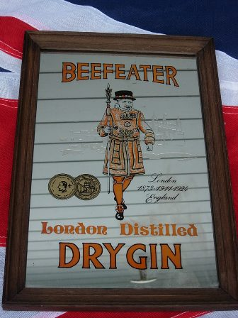 Antique Framed Beefeater Pub Mirror