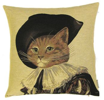 Tapestry laughing cavalier cat cushion - Sofa herbergt s werelds ...