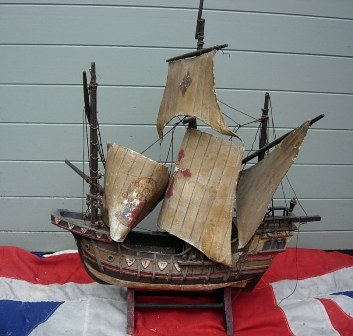 Antique Model Of Spanish Galleon Ship