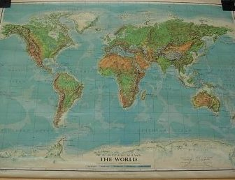 PHILIPS OLD SCHOOL MAP OF THE WORLD