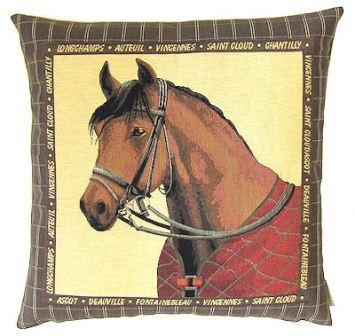 Tapestry Horses Head Cushion