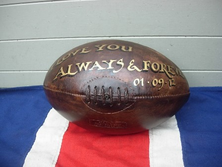 Wedding Gift Ideas Rugby : Hand painted leather rugby ball ideal as a wedding gift